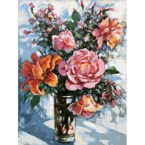 Натюрморт с розами Раскраска картина по номерам акриловыми красками на картоне Белоснежка