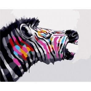 Разноцветная зебра Раскраска по номерам акриловыми красками на холсте Menglei