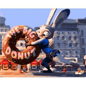 Джуди Хоппс из Зверополиса с пончиком Раскраска по номерам акриловыми красками на холсте Menglei