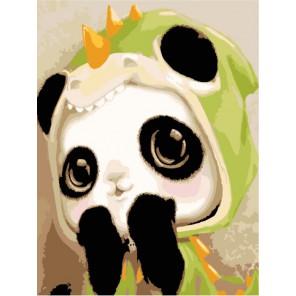 Маленькая панда Раскраска по номерам акриловыми красками на холсте Menglei