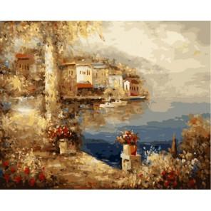 Средиземноморский пейзаж Анджея Влодарчика Раскраска по номерам акриловыми красками на холсте Menglei