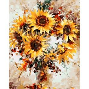 Счастливые подсолнухи Леонида Афремова Раскраска картина по номерам акриловыми красками на холсте Menglei
