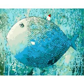 Чудо-юдо рыба кит Раскраска картина по номерам акриловыми красками на холсте Menglei
