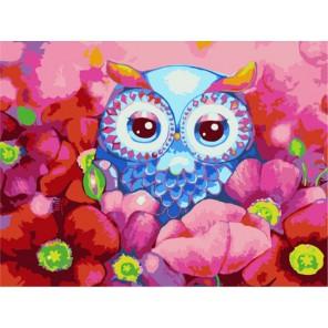 Совушка в цветах Раскраска картина по номерам акриловыми красками на холсте Menglei