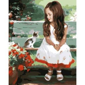 Девочка и котенок Раскраска картина по номерам акриловыми красками на холсте Menglei