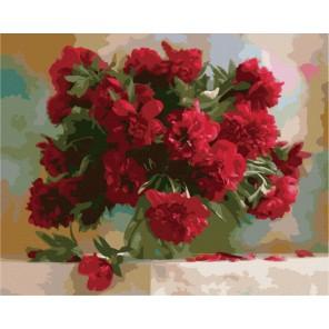 Красные пионы Дарьи Никончук Раскраска картина по номерам акриловыми красками на холсте Menglei