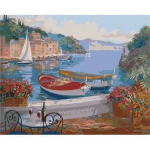 Столик на двоих в Портофино Раскраска картина по номерам акриловыми красками на холсте Menglei