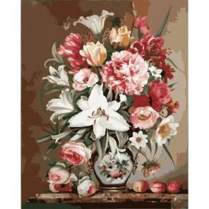 Садовые цветы Раскраска картина по номерам акриловыми красками на холсте Menglei