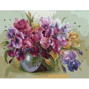 Ваза с ирисами Раскраска картина по номерам акриловыми красками на холсте Menglei