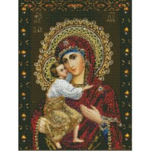 Феодоровская икона Божией матери Алмазная вышивка мозаика с рамкой Цветной
