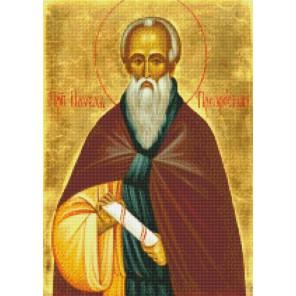 Преподобный Павел Препростый Алмазная вышивка мозаика с рамкой Цветной