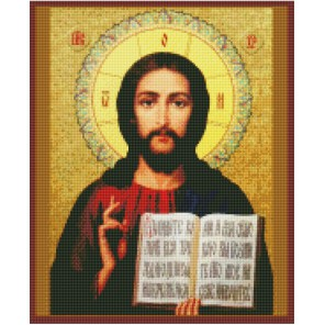 Христос Спаситель Алмазная вышивка мозаика с рамкой Цветной