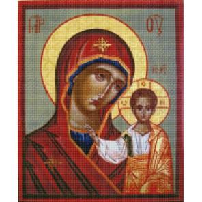 Казанская икона Божией Матери Алмазная вышивка мозаика с рамкой Цветной