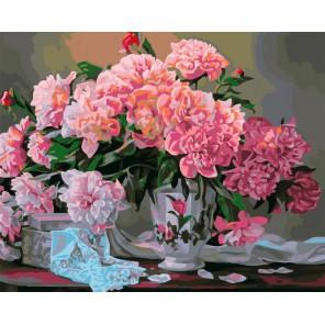 Пионовый букет Раскраска картина по номерам акриловыми красками на холсте Iteso