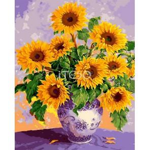Букет подсолнухов Раскраска картина по номерам акриловыми красками на холсте Iteso