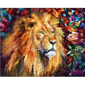 Лев и роза (художник Леонид Афремов) Раскраска картина по номерам акриловыми красками на холсте Molly