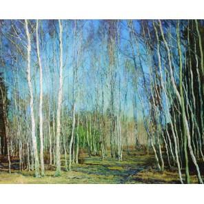 Голубая весна (Василий Бакшеев) Раскраска картина по номерам акриловыми красками на холсте Molly