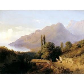 GX9834 Крымский пейзаж ( Лагорио Л.Ф.) Раскраска картина по номерам акриловыми красками на холсте Molly | Купить картину по ном