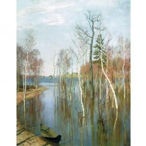 Левитан. Большая вода Раскраска картина по номерам акриловыми красками на холсте Molly