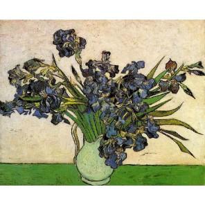 Ирисы в вазе (Ван Гог) Раскраска картина по номерам на холсте Molly