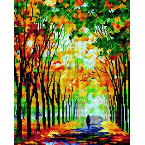 GL044 Осенняя аллея ( Леонид Афремов) Алмазная мозаика стразами на подрамнике Molly | Купить алмазную мозаику Молли