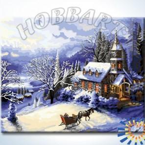 В заснеженный замок Раскраска картина по номерам акриловыми красками на холсте Hobbart