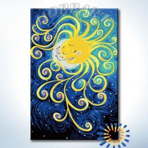 Солнце и Луна Раскраска картина по номерам акриловыми красками на холсте Hobbart