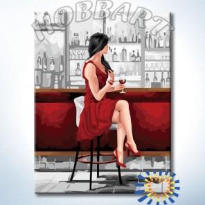 С бокалом вина Раскраска картина по номерам акриловыми красками на холсте Hobbart