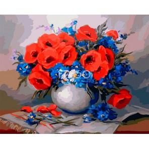 Фелиция с маками Раскраска картина по номерам акриловыми красками на холсте Iteso | Картину по номерам купить