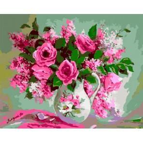 Букет роз и сирени Раскраска картина по номерам акриловыми красками на холсте Iteso | Картину по номерам купить