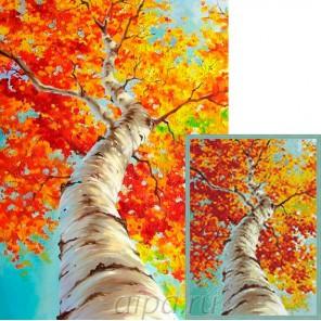 Осенняя береза Алмазная мозаика вышивка Гранни