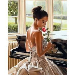 Пианистка с розой Алмазная мозаика вышивка Гранни   Алмазная мозаика купить