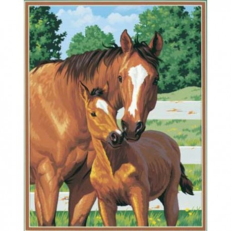 Лошадь и жеребёнок 91100 Раскраска по номерам Dimensions