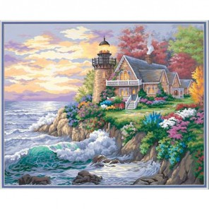 Дом у маяка на берегу Раскраска (картина) по номерам акриловыми красками Dimensions