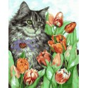 Котик в тюльпанах Раскраска картина по номерам на холсте