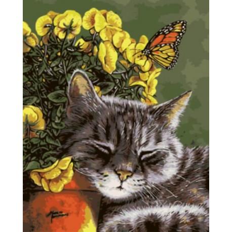 Спящий кот Раскраска картина по номерам акриловыми красками на холсте   Картина по номерам купить