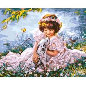 Девочка с далматинцем Раскраска картина по номерам акриловыми красками на холсте   Картина по номерам купить