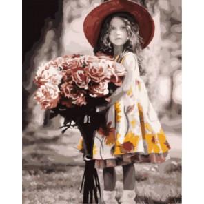 Девочка с букетом Кима Андерсона Раскраска картина по номерам акриловыми красками на холсте   Картина по цифрам купить