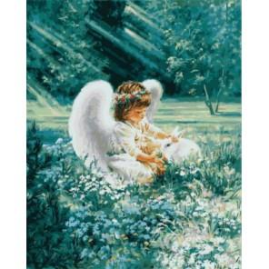 Ангелочек с кроликом Раскраска картина по номерам акриловыми красками на холсте   Картина по цифрам купить