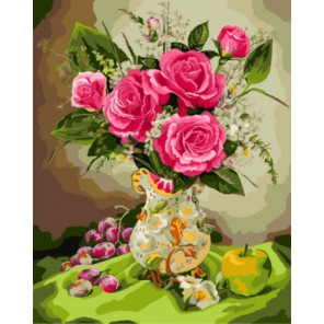 Алые розы Раскраска картина по номерам акриловыми красками на холсте | Картина по цифрам купить