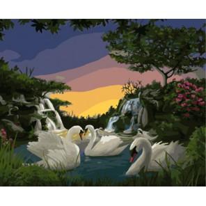 Лебеди на озере Раскраска картина по номерам акриловыми красками на холсте   Картина по цифрам купить