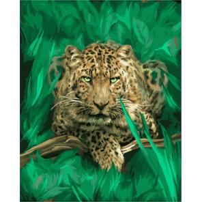 Леопард в листве Раскраска картина по номерам акриловыми красками на холсте