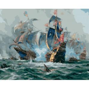 Морской бой (художник Адольф Бок) Раскраска картина по номерам на холсте