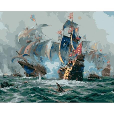 Морской бой (художник Адольф Бок) Раскраска картина по номерам акриловыми красками на холсте