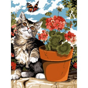 Котенок и бабочка Раскраска картина по номерам акриловыми красками на холсте