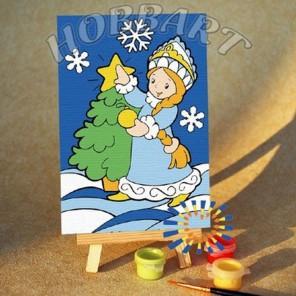 Снегурочка Раскраска по номерам акриловыми красками на холсте 10х15 см