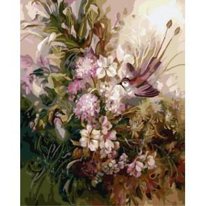 Раскраска по номерам Птицы в цветах (художник Римма Вьюгова) картина 40х50 см на холсте