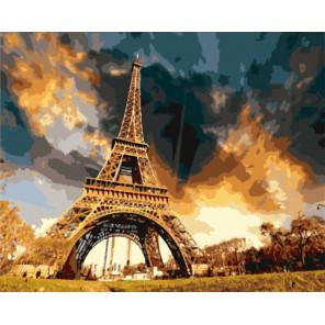 Раскраска по номерам  Эйфелевая башня вечером картина 40х50 см на холсте