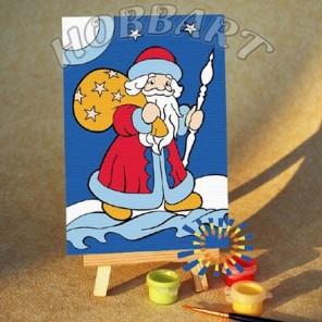 Раскраска по номерам Дед Мороз картина 10х15 см на холсте