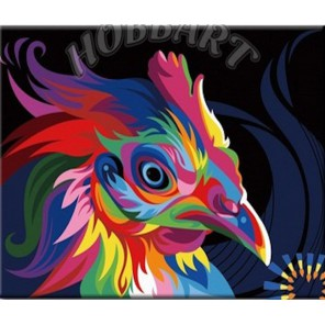 Раскраска по номерам Радужный петух картина 20х30 см на холсте